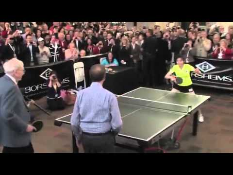 Warren Buffett and Bill Gates playing ping-pong 2013