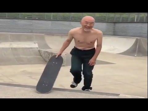 INSTABLAST! - 72 Year Old Man Skating Skatepark! Heavy Duty Slams! Wheelchair SD Street Ripping!