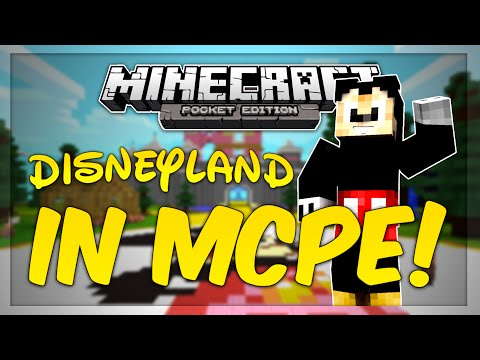 DISNEYLAND MINECRAFT WORLD! - Minecraft PE Map Review! + Machinima!