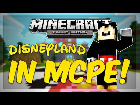 DISNEYLAND MINECRAFT WORLD! - Minecraft PE Map Review! + Machinima!
