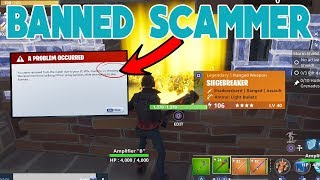 *NEW* BANNED SCAMMER SCAMMED HIMSELF (Scammer Gets Scammed) Fortnite Save The World