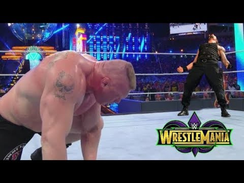 Roman Reigns Vs Brock Lesnar universel Championship Full Match wrestlemania 34 thumbnail