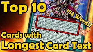 Top 10 Cards With The Longest Card Text in YuGiOh