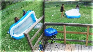Nebraska Dad Catches Thieves Stealing Kiddie Pool From Backyard