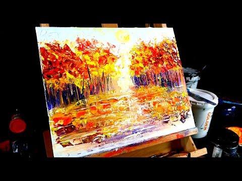 Painting autumn with brush and pallet knife step by step simple painting tutorial