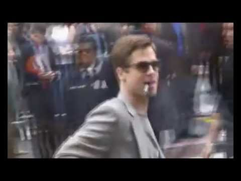 Brad Pitt Signs Autographs For Fans.