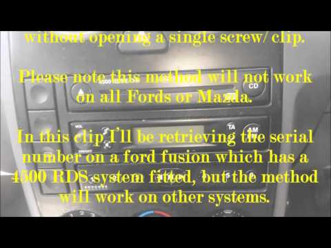 How to find the serial number on your radio sound system without taking it out   FORD MAZDA FIESTA