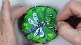 Beginners Rock Painting Tutorial How to Paint a Dragonfly & Waterdrop