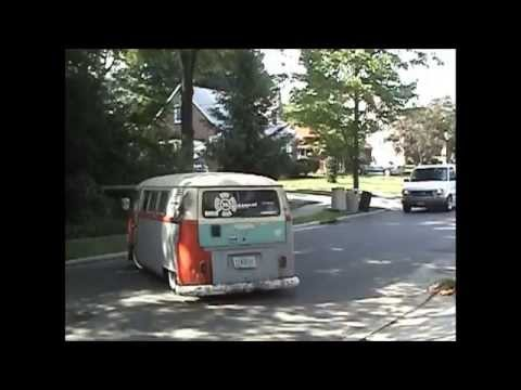 Trying to get my slammed 65 VW Bus up the driveway