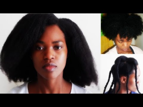 Natural Hair| African threading takedown/ Heatless Blowout