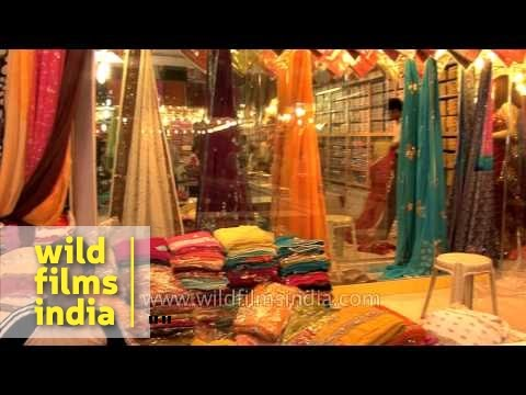 Bright and colourful sarees for sale at a shop in Varanasi