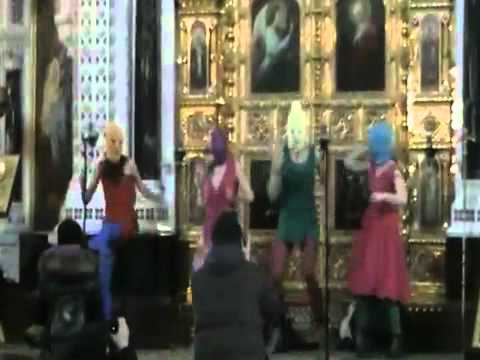 The original video of performance punk band Free Pussy Riot in Cathedral of Christ th Saviour Moscow