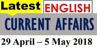 Latest GK May 2018 (Week 1), Current Affairs in English (29 April - 5 May 2018)
