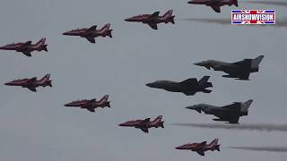RED ARROWS & TYPHOON FORCE WELCOME F35 INTO UK (airshowvision)