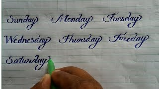 SUNDAY MONDAY करसिव राइटिंग  Learn Calligraphy and Cursive writing