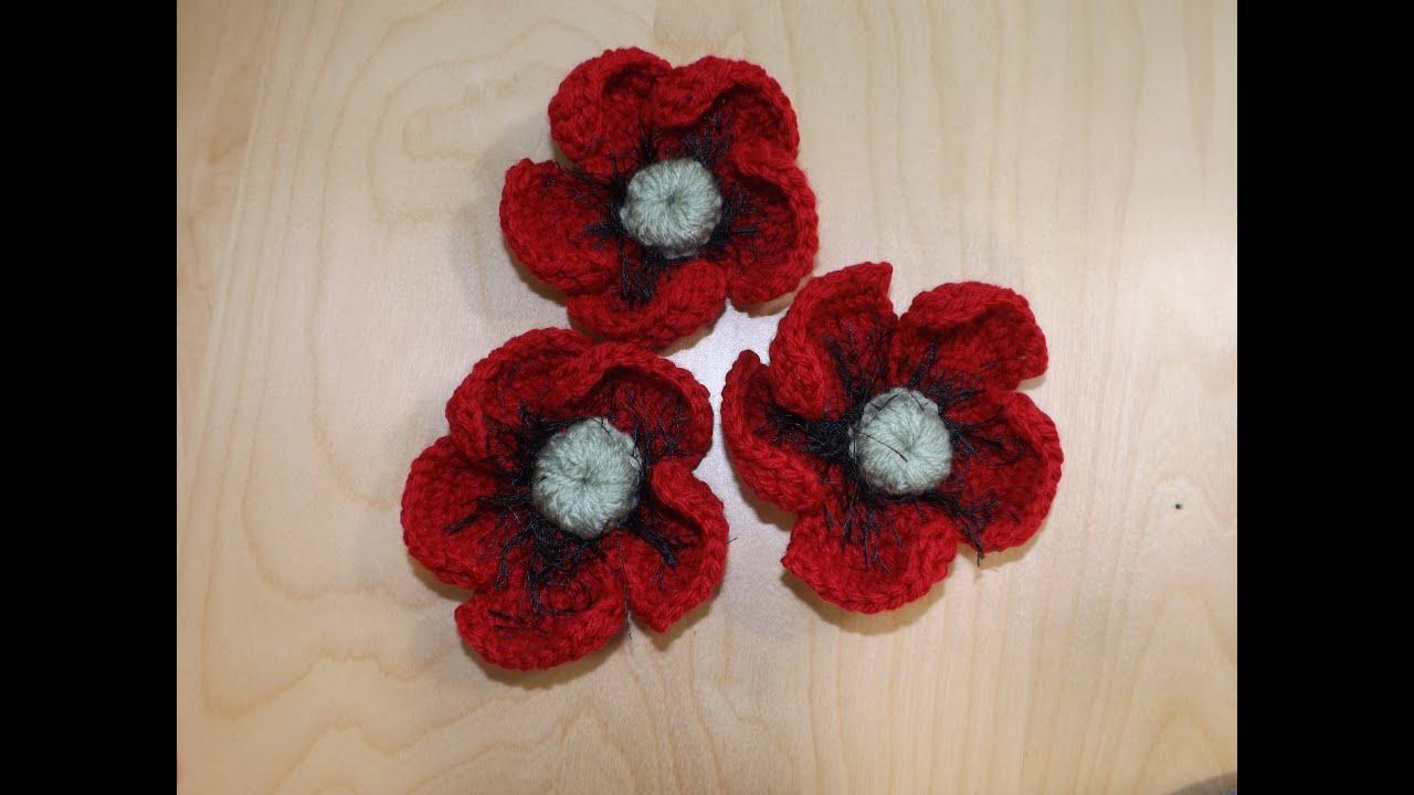 Free Crochet Pattern For Poppy Flower : How To Crochet A Poppy Flower - YouTube
