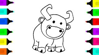 Ox Drawing and coloring Videos for children Drawing Animals and Birds for kids Learn to color