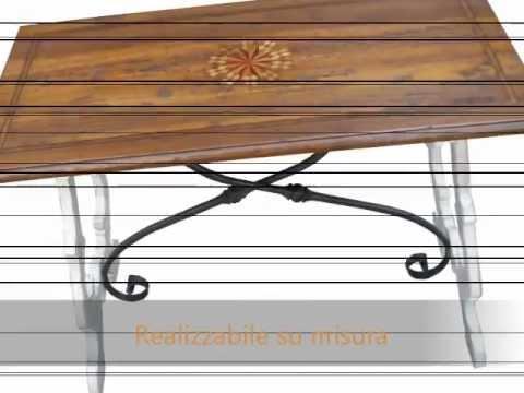 Tavolo tavoli fratini con ferri stile 700 olmo antico con base decapata bianc...