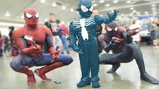 New Little Spiderman & Venom & Captain America Vs The Blue Spiderman   Real Playground Battle!