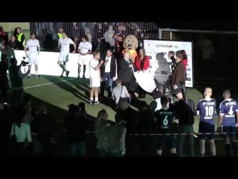 Sparhandy Cup 2015 | Einlauf: Markus Krampe, Lukas Podolski und Reiner Calmund | Schwalbe Arena