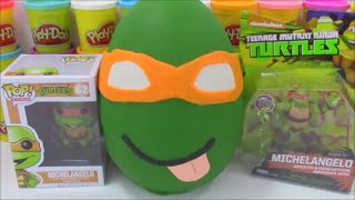 Jumbo Mikey TMNT Ninja Turtle Surprise Egg Play Doh