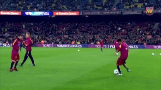 Spectacular shots on goal during the FC Barcelona warm up