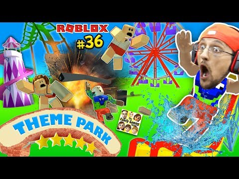 THEME PARK TYCOON ! Roller Coaster Roblox Fail Accident! FGTEEV Amusement Park Showcase Funny Glitch