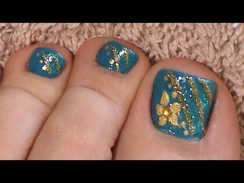 Blue Toenail Art Design Golden Flowers Tutorial