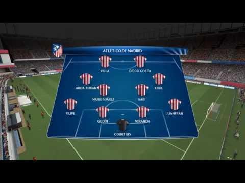 PES 14 - Simulacion / Atletico Madrid vs Barcelona / Uefa Champions league Cuartos De Final