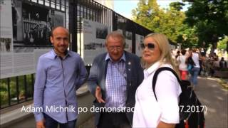 Adam Michnik wulgarnie po demonstracji