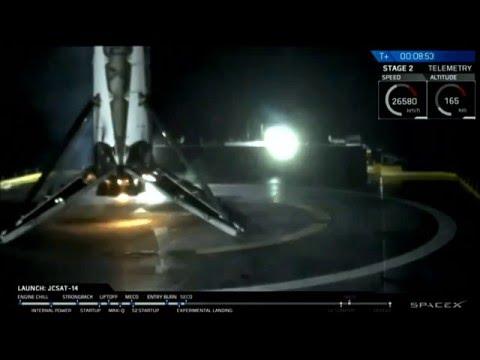 SpaceX JCSAT-14 Barge Landing