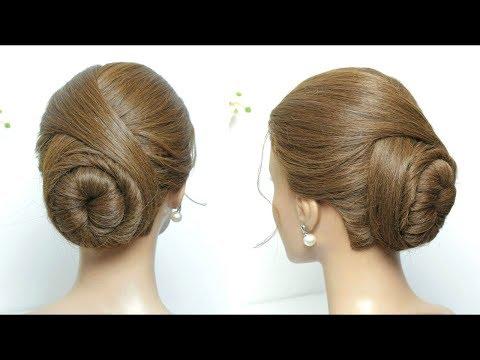 Elegant Bun Hairstyle. Easy Updo For Long Medium Hair Tutorial