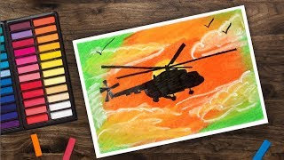 How to draw Helicopter with Soft Pastels - Step by Step