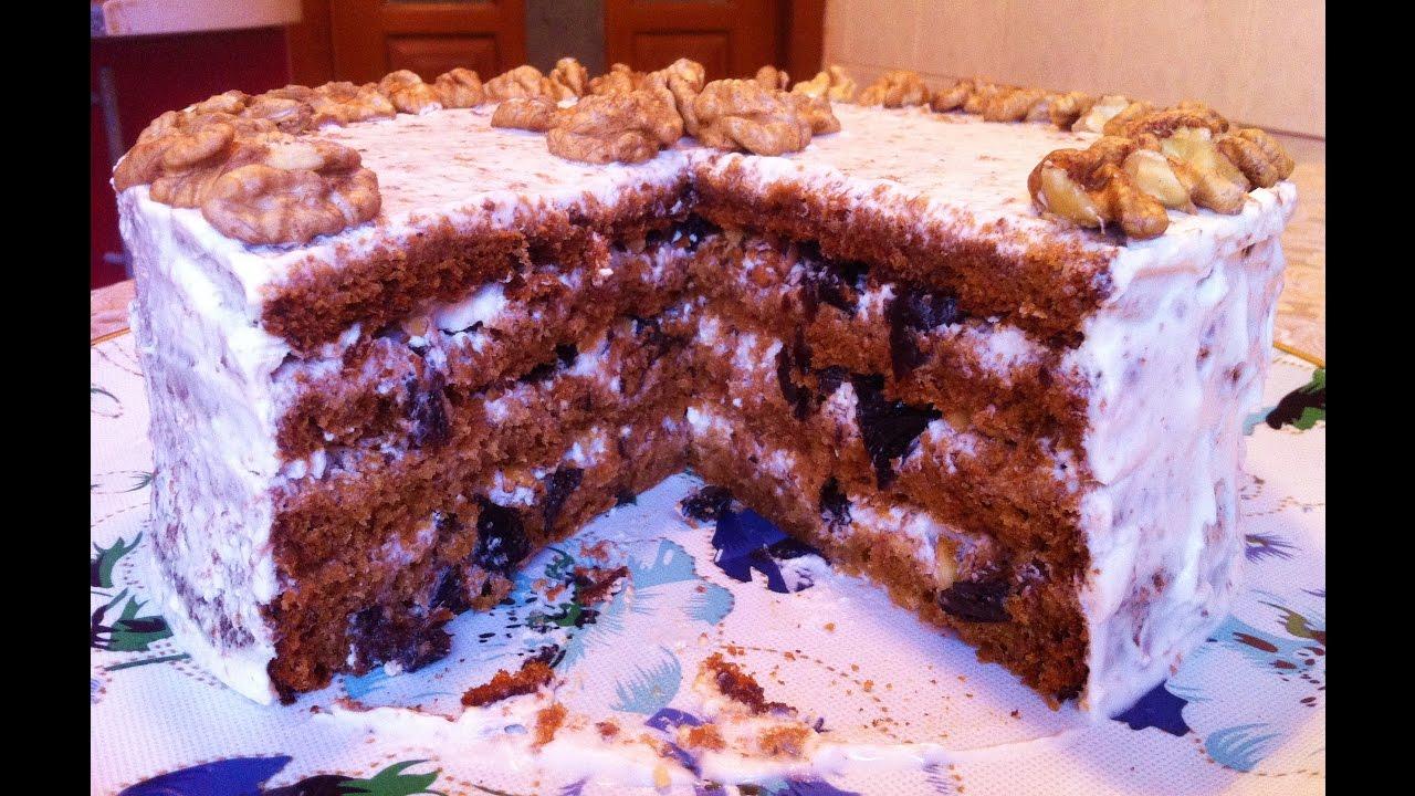 Торт из бисквитных коржей со сметаной фото пошагово