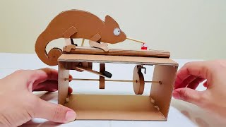 How to make automata toy from cardboard (DIY  Chameleon) / 박스로 카멜레온 오토마타 만들기 / オートマタ