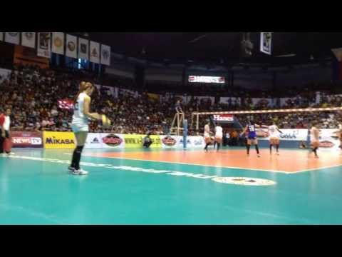 Rachel Daquis serving for Ateneo vs NU V League