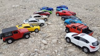 Driving toy cars on the dirt - Video for Kids