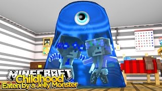 Minecraft Childhood : BABY LITTLE KELLY & LITTLE CARLY EATEN BY A JELLY MONSTER!