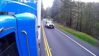 Как  американец обгоняет грузовик. An impatient driver almost caused an accident on Hwy 20!