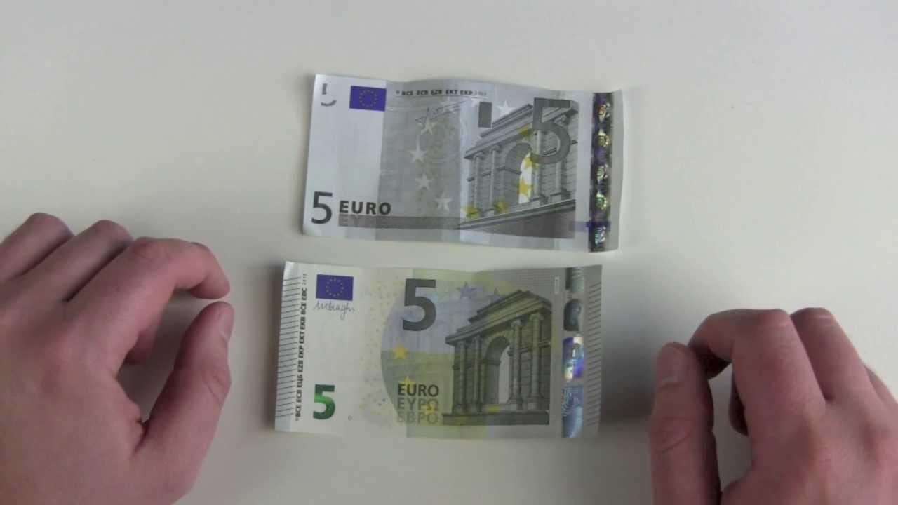 neuer 5 euro schein vs alter 5 euro schein youtube. Black Bedroom Furniture Sets. Home Design Ideas