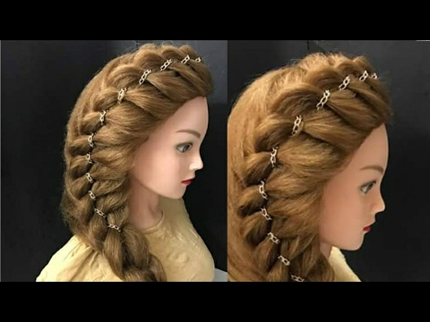 Awesome Side Braid Hairstyle with Chain : Прически Hairstyles