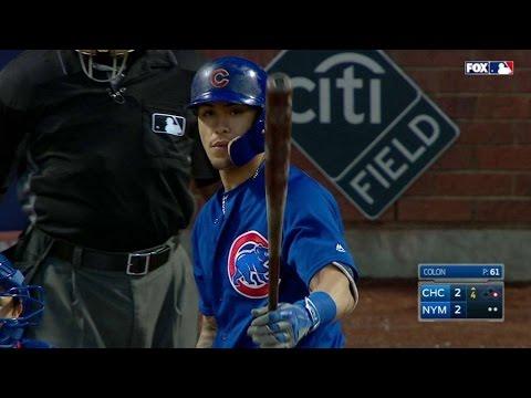 CHC@NYM: Baez pinch-hits for an injured Coghlan