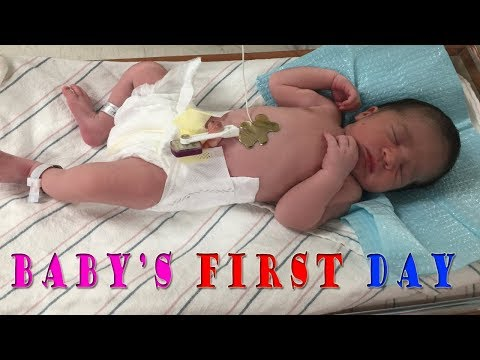 Newborn's First Day | FIRST DAY AT THE HOSPITAL WITH A NEW BABY | Baby's First Bath