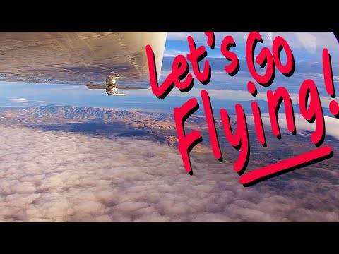 This flight begins on a stormy and bumpy day in Mammoth Yosemite Airport in California's High Sierra mountains. Turbulence knocks the plane about over Owens Valley, but finally calms enough...