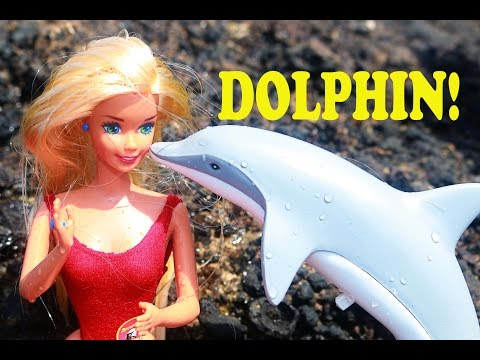 BARBIE DROWNING!! Dolphin Swim & SAVES Barbie! Career Life Toy Parody Video Baywatch Disney Frozen
