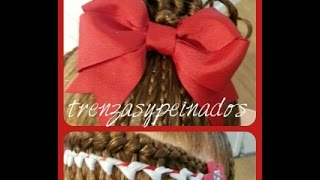 Encintado y Moño para Navidad - Hair Bow and Ribbon Weave for Christmas