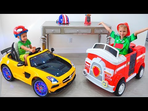 Vlad and Nikita show cars toys in new home