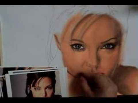 ANGELINA JOLIE PASTEL PAINTING  Watch it happen!