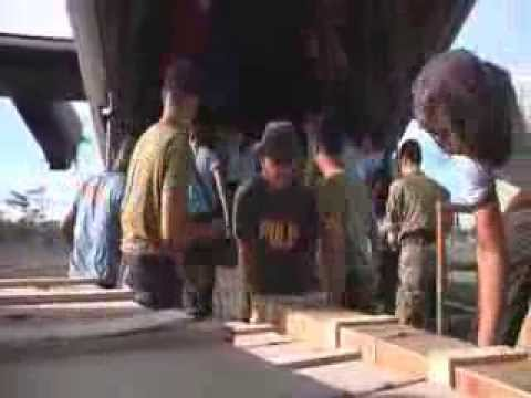 RAF C-130 Hercules delivering UK humanitarian aid to the Philippines. Part 3 of 3