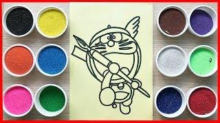Đồ chơi trẻ em TÔ MÀU TRANH CÁT Đôrêmon và bảo bối | Learn colors Sand Painting
